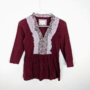 Anthropologie Deletta Ruffle Shirt Dark Red